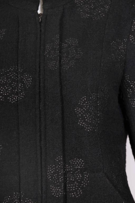 2003 Chanel Black Wool Boucle Jacket w/Camellia Print For Sale 2