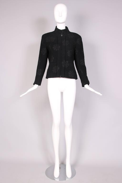 2003 Chanel Black Wool Boucle Jacket w/Camellia Print In Excellent Condition For Sale In Los Angeles, CA