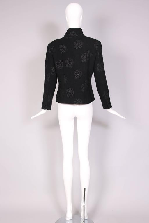 2003 Chanel Black Wool Boucle Jacket w/Camellia Print For Sale 1