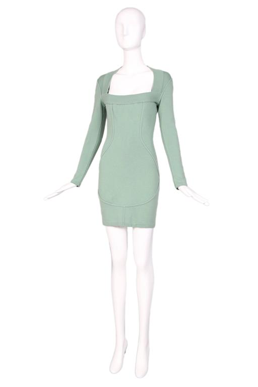 Vintage Alaia Pale Green Bodycon Long Sleeved Mini Dress 2