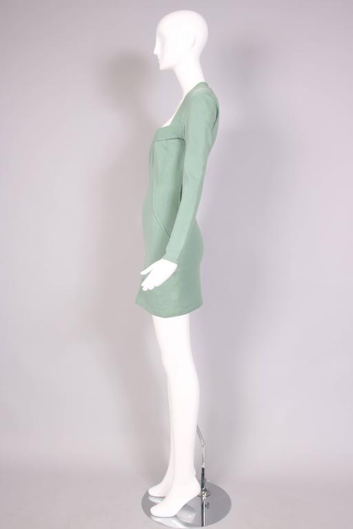 Vintage Alaia Pale Green Bodycon Long Sleeved Mini Dress 4