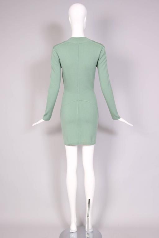 Vintage Alaia Pale Green Bodycon Long Sleeved Mini Dress 5