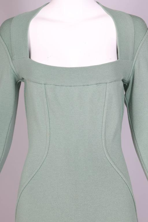 Vintage Alaia Pale Green Bodycon Long Sleeved Mini Dress 6