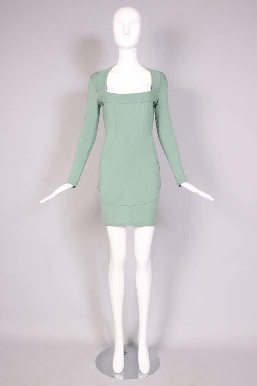 Vintage Alaia Pale Green Bodycon Long Sleeved Mini Dress 3