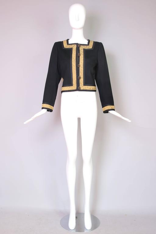 1970's Yves Saint Laurent YSL Russian Collection Jacket w/Brocade Trim 3