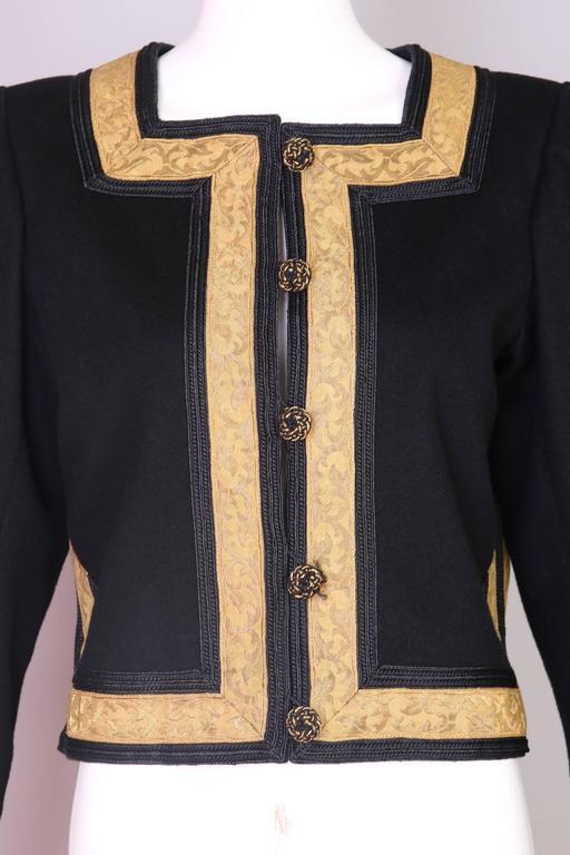 1970's Yves Saint Laurent YSL Russian Collection Jacket w/Brocade Trim 6