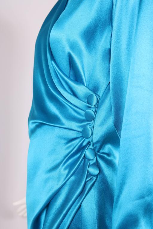 1987 A/H Yves Saint Laurent YSL Haute Couture Electric Blue Silk Cocktail Dress For Sale 2
