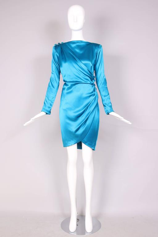 Women's 1987 A/H Yves Saint Laurent YSL Haute Couture Electric Blue Silk Cocktail Dress For Sale