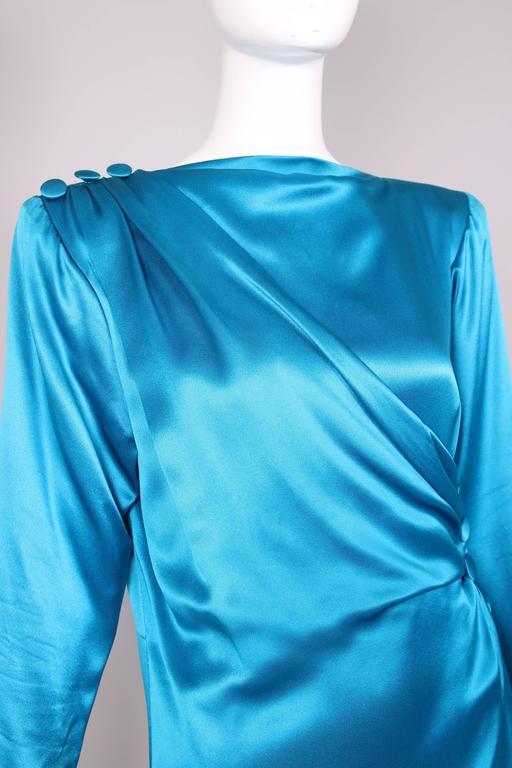1987 A/H Yves Saint Laurent YSL Haute Couture Electric Blue Silk Cocktail Dress For Sale 3