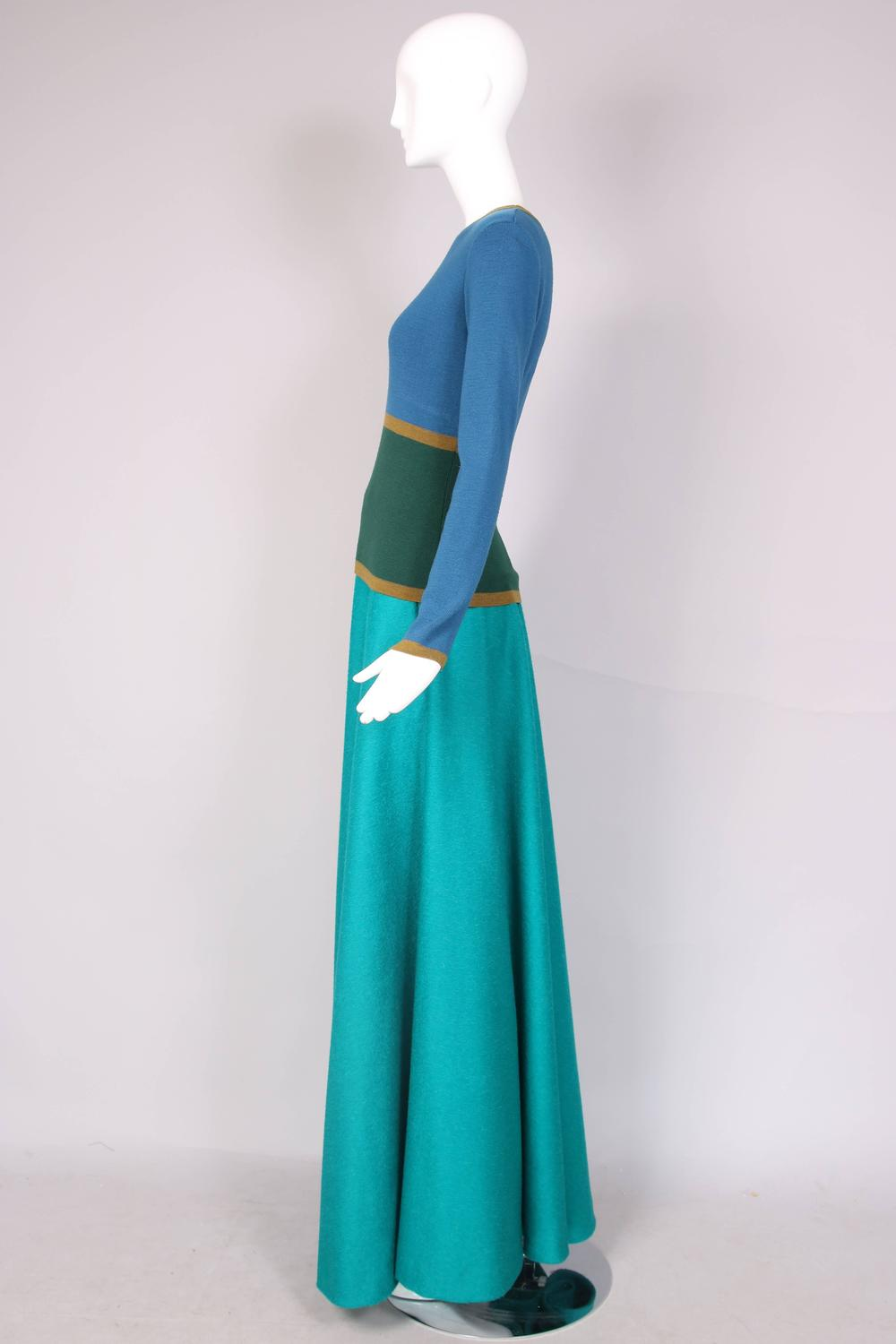 yves laurent ysl green and blue sweater maxi skirt