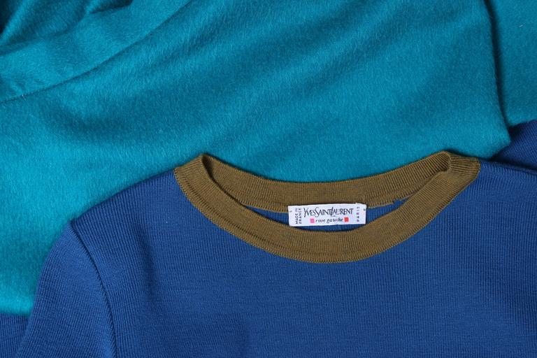 Blue Yves Saint Laurent YSL Colorblocked Sweater & Maxi Skirt Ensemble For Sale