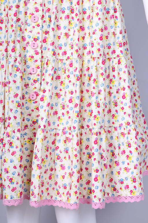 Circa 1980 Betsey Johnson Floral Print Tiered Cotton Day Dress  5