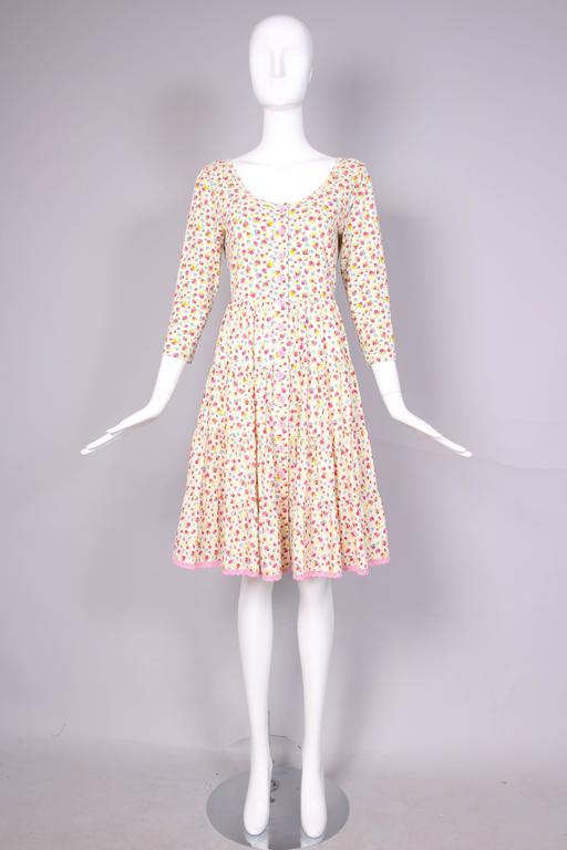 Circa 1980 Betsey Johnson Floral Print Tiered Cotton Day Dress  3