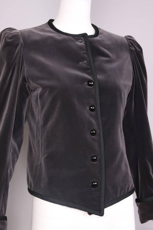 1970's Yves Saint Laurent YSL Slate Grey Velvet Jacket W/Black Trim 4