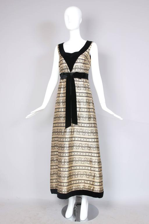 1970's Jean Varon Gold & Black Brocade Evening Gown w/Velvet Trim 3