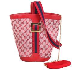 1970's Gucci Red Canvas GG Logo Bucket Bag W/Leather Trim & Racer Stripe Strap