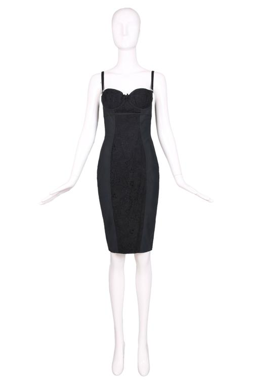Dolce & Gabbana Black Bodycon Bustier Dress w/Lace Insets 2