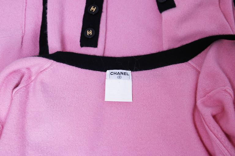 1995 Chanel Pink Cashmere Cardigan Sweater W/Chanel Logo Buttons & Black Trim 7