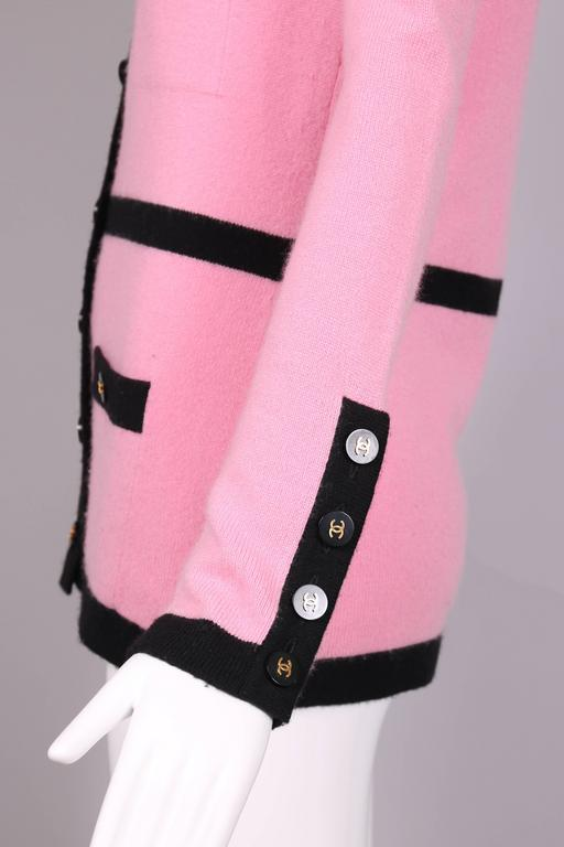 1995 Chanel Pink Cashmere Cardigan Sweater W/Chanel Logo Buttons & Black Trim 6