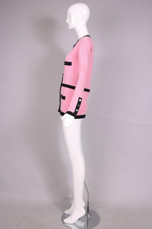 1995 Chanel Pink Cashmere Cardigan Sweater W/Chanel Logo Buttons & Black Trim 4