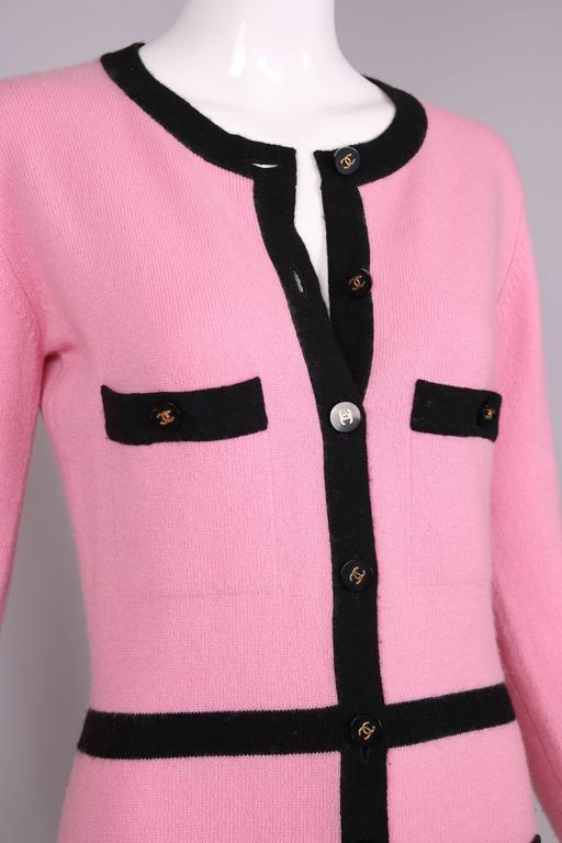 1995 Chanel Pink Cashmere Cardigan Sweater W/Chanel Logo Buttons & Black Trim 5