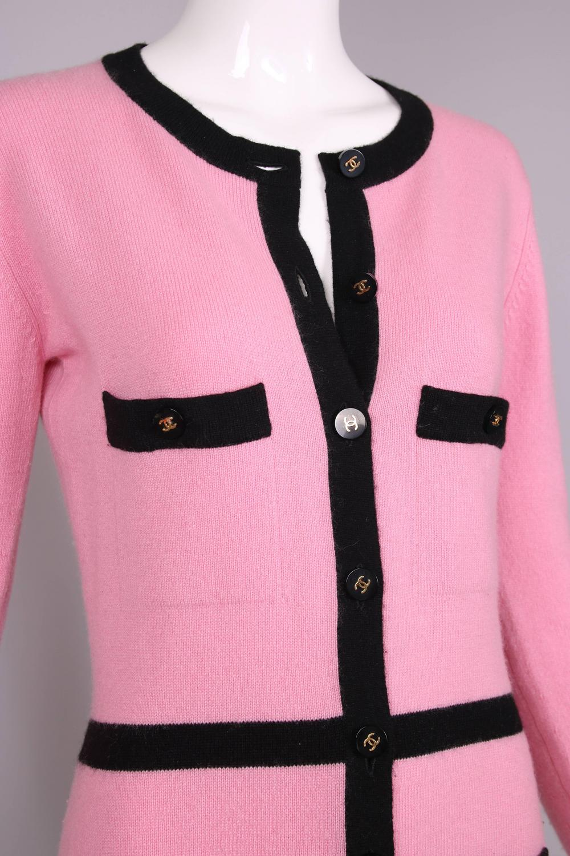1995 Chanel Pink Cashmere Cardigan Sweater W Chanel Logo
