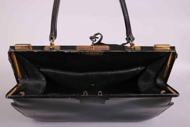 Vintage Hermes Black Leather Top Handle Handbag W/Lock & Key For Sale 2