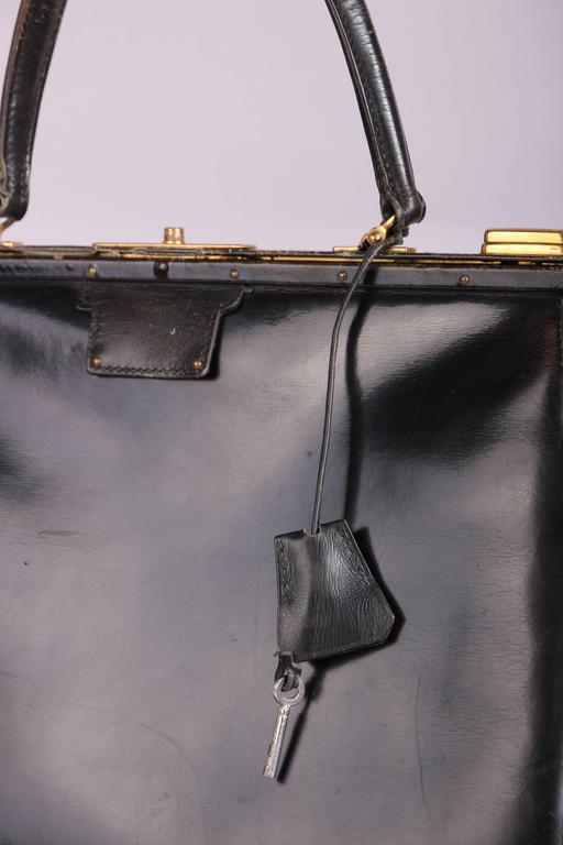 Women's Vintage Hermes Black Leather Top Handle Handbag W/Lock & Key For Sale