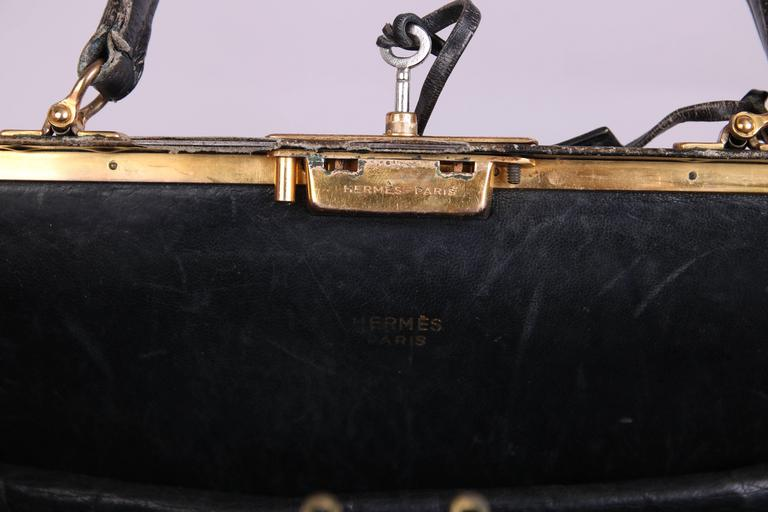 Vintage Hermes Black Leather Top Handle Handbag W/Lock & Key For Sale 3