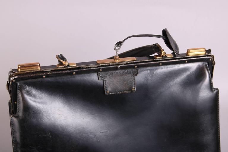 Vintage Hermes Black Leather Top Handle Handbag W/Lock & Key For Sale 1