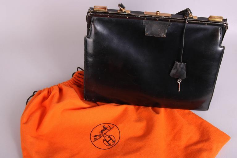 Vintage Hermes Black Leather Top Handle Handbag W/Lock & Key For Sale 4