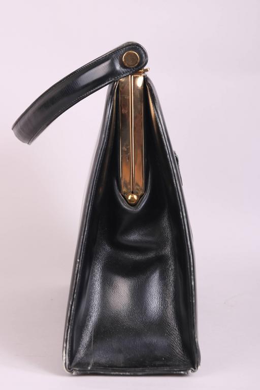 1stdibs Vintage Milch Black Leather Box Purse Handbag W/working Radio oFhMiwan