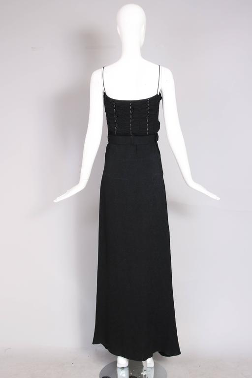 John Galliano 1940s Inspired Black Evening Dress w/Decorative Bow & Rhinestones  For Sale 1