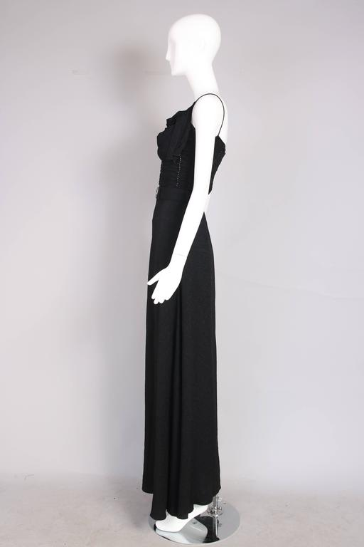 Women's John Galliano 1940s Inspired Black Evening Dress w/Decorative Bow & Rhinestones  For Sale