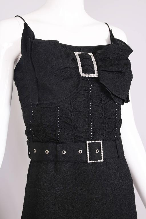 John Galliano 1940s Inspired Black Evening Dress w/Decorative Bow & Rhinestones  For Sale 2