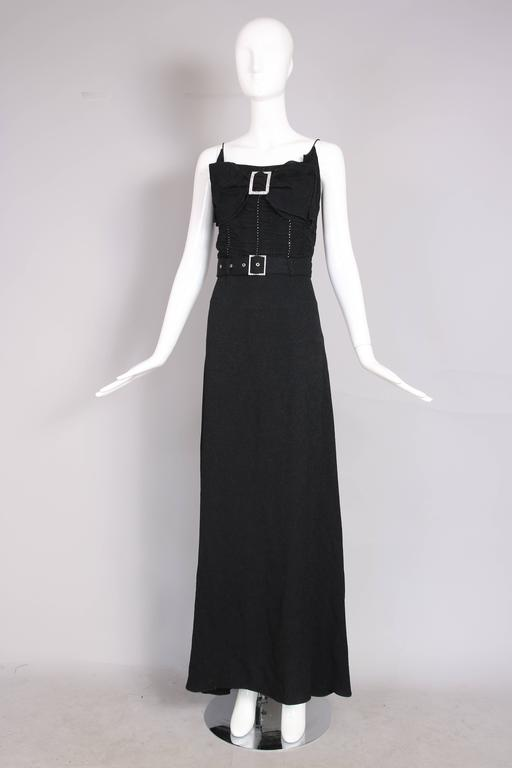 John Galliano 1940s Inspired Black Evening Dress w/Decorative Bow & Rhinestones  In Excellent Condition For Sale In Los Angeles, CA