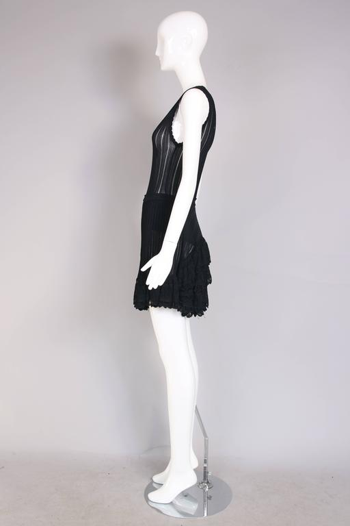 Women's Azzedine Alaia Black Ballerina Mini Dress W/Scalloped Hem and Lace Trim For Sale