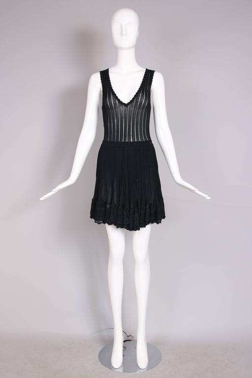 Azzedine Alaia Black Ballerina Mini Dress W/Scalloped Hem and Lace Trim For Sale 2