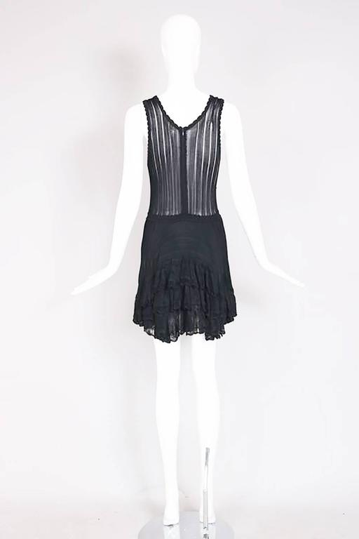 Azzedine Alaia Black Ballerina Mini Dress W/Scalloped Hem and Lace Trim For Sale 1