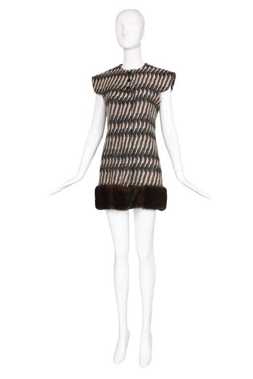 Vintage Pierre Cardin Wool Cap Sleeve Vest W/Mink Trim 2