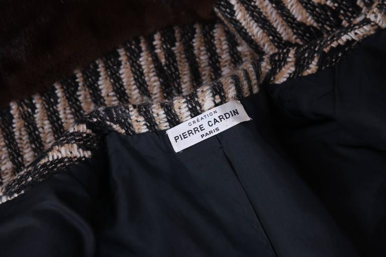 Vintage Pierre Cardin Wool Cap Sleeve Vest W/Mink Trim 8