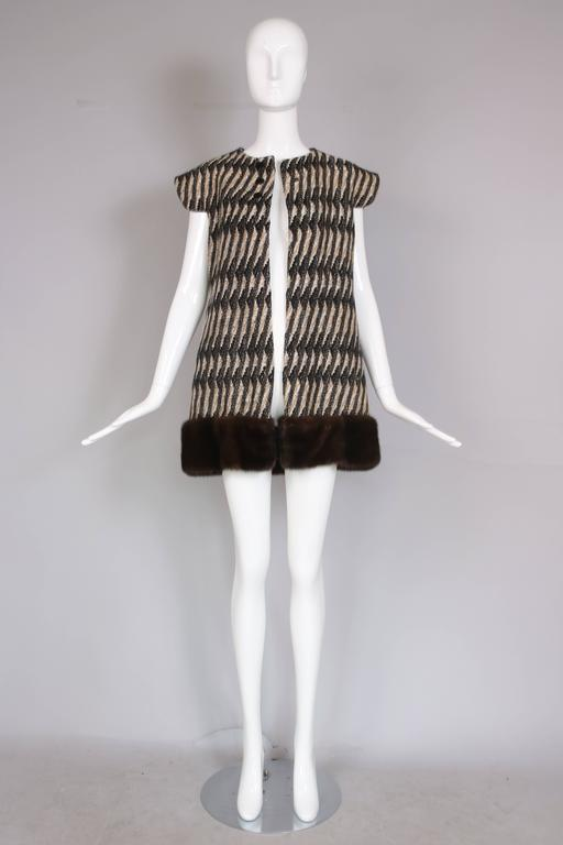 Vintage Pierre Cardin Wool Cap Sleeve Vest W/Mink Trim 4
