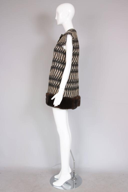 Vintage Pierre Cardin Wool Cap Sleeve Vest W/Mink Trim 5