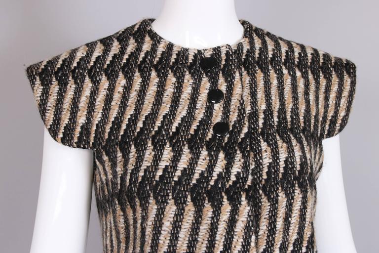 Vintage Pierre Cardin Wool Cap Sleeve Vest W/Mink Trim 6