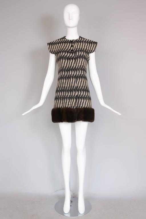 Vintage Pierre Cardin Wool Cap Sleeve Vest W/Mink Trim 3