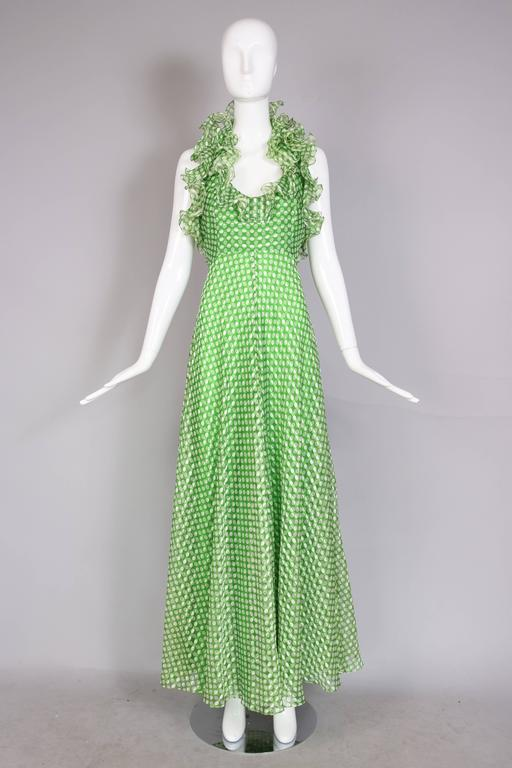 1970's Geoffrey Beene Green Polka Dot Halter Neck Maxi Dress W/Ruffle Trim In Excellent Condition For Sale In Los Angeles, CA