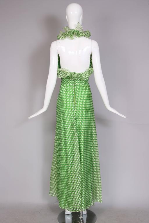 1970's Geoffrey Beene Green Polka Dot Halter Neck Maxi Dress W/Ruffle Trim For Sale 1
