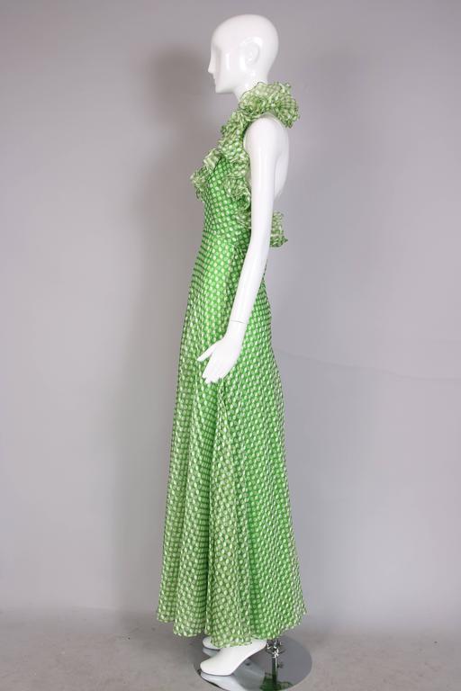 1970's Geoffrey Beene Green Polka Dot Halter Neck Maxi Dress W/Ruffle Trim 4