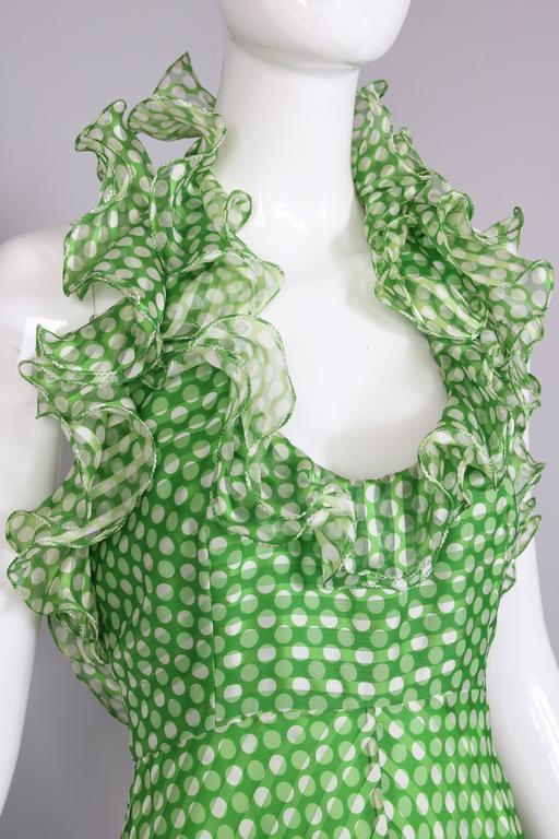 1970's Geoffrey Beene Green Polka Dot Halter Neck Maxi Dress W/Ruffle Trim For Sale 2
