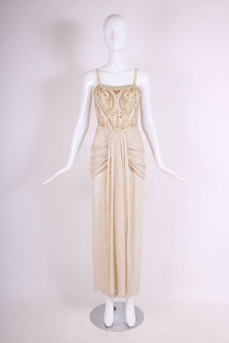 Givenchy Haute Couture Silk Evening Gown w/Beading & Embroidery n°66242 3